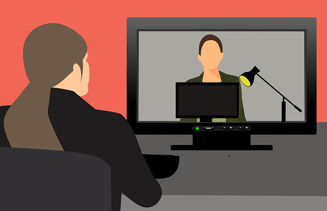 Illustration of two women on video call